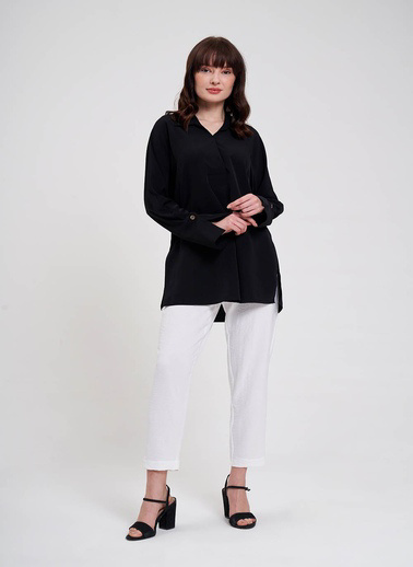 Mizalle Mızalle Kalın Patlı Lüks Bluz  Siyah